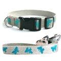 法國 亞麻犬用天然環保項圈牽繩組 (蝴蝶/藍色/M) - 項圈30~50cm自由調整