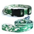 法國 S尺寸 木纖維犬用天然環保項圈牽繩組 (花邊/綠色/S)