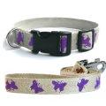 法國 亞麻犬用天然環保項圈牽繩組 (蝴蝶/紫色/M) - 100% 亞麻 Linen