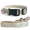 法國 亞麻犬用天然環保項圈牽繩組 (蝴蝶/銀色/M) - 100%法國設計,製造