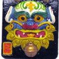 金門浯州陶藝 - 風獅爺 吉祥獅臉譜 (招財) 6cm x 6cm x 0.7cm Wind Lion God
