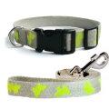 法國 亞麻犬用天然環保項圈牽繩組 (蝴蝶/黃色/M) - 植物纖維,高透氣性